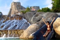 Mogambo Falls has two giant slides, which measures 15 meters high (almost as high as a five-story building!).